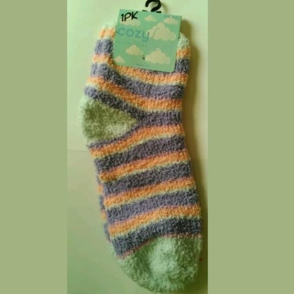 Ladies 9-11 Peach//Gray Stripes 1 Pr BETSEY JOHNSON Thigh High Socks